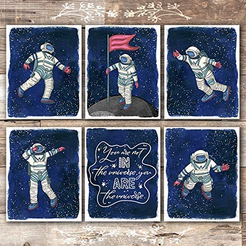 Astronauts In Space Art Prints (Set of 6) - Unframed - 8x10s - Dream Big Printables