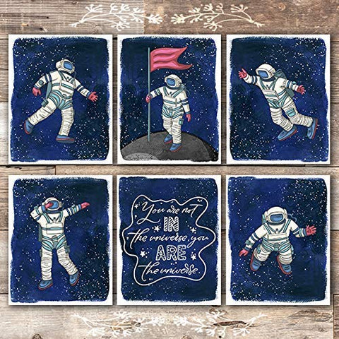 Astronauts In Space Art Prints (Set of 6) - Unframed - 8x10s