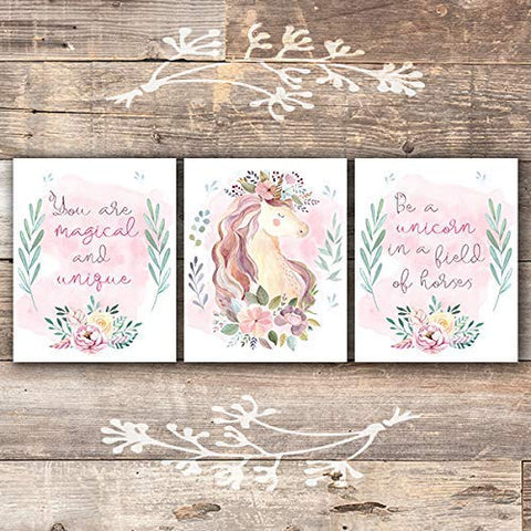 Unicorn Wall Art Prints (Set of 3) - Unframed - 8x10s | Girls Room Decor