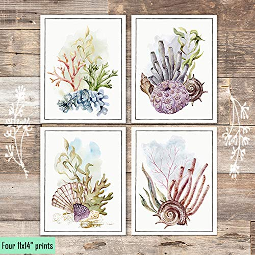 Ocean Coral Art Prints (Set of 4) - Unframed - 11x14s - Dream Big Printables