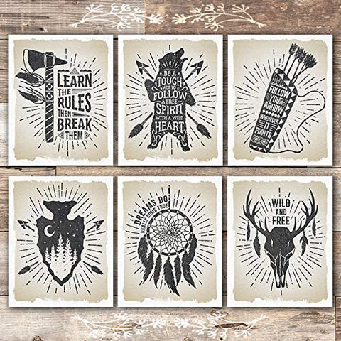 Native American Inspirational Quote Art Prints (Set of 6) - Unframed - 8x10s - Dream Big Printables