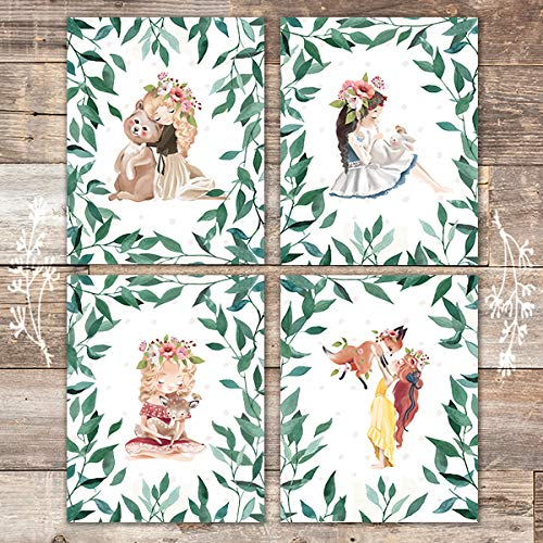 Woodland Girls Art Prints (Set of 4) - Unframed - 8x10s - Dream Big Printables