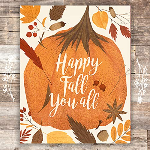 Happy Fall You All Art Print - Unframed - 8x10 | Autumn Decor - Dream Big Printables