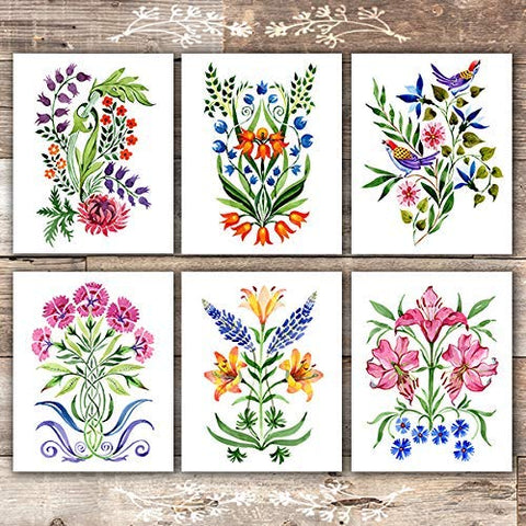 Colorful Floral Arrangements Art Prints (Set of 6) - Unframed - 8x10s