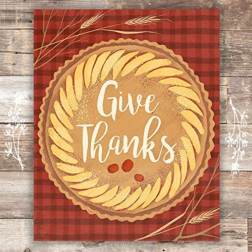 Give Thanks Art Print - Unframed - 8x10 | Autumn Decor - Dream Big Printables