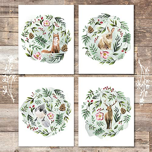 Woodland Animals Floral Watercolor (Set of 4) - Unframed - 8x10s - Dream Big Printables