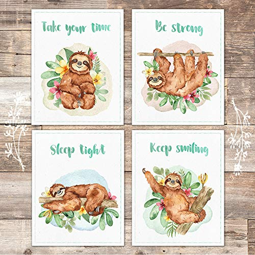 Sloth Art Prints (Set of 4) - Unframed - 8x10s - Dream Big Printables