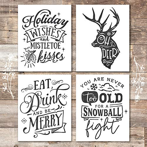 Christmas Chalkboard Quotes Art Prints (Set of 4) - Unframed - 8x10 - Dream Big Printables