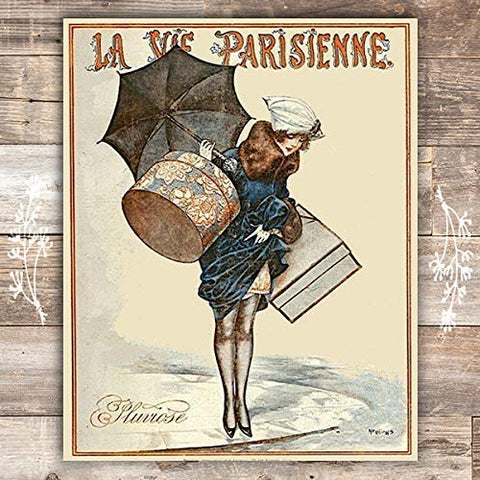 Rainy La Parisienne Cover French Art Print - Unframed - 8x10 - Dream Big Printables