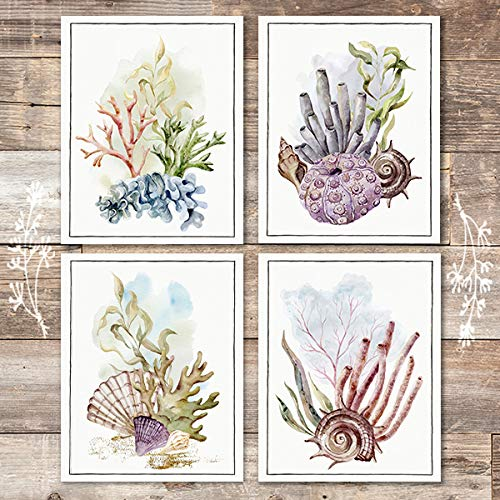 Ocean Coral Art Prints (Set of 4) - Unframed - 8x10s - Dream Big Printables