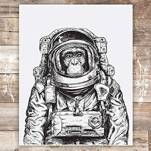 Astronaut Monkey Art Print - Unframed - 8x10 | Space Monkey - Dream Big Printables