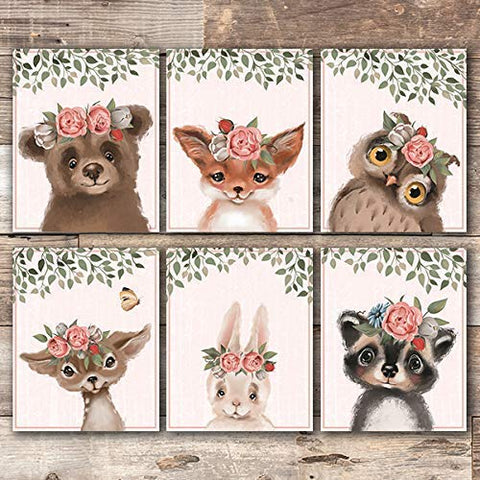 Woodland Animals Floral Art Prints (Set of 6) - Unframed - 8x10s