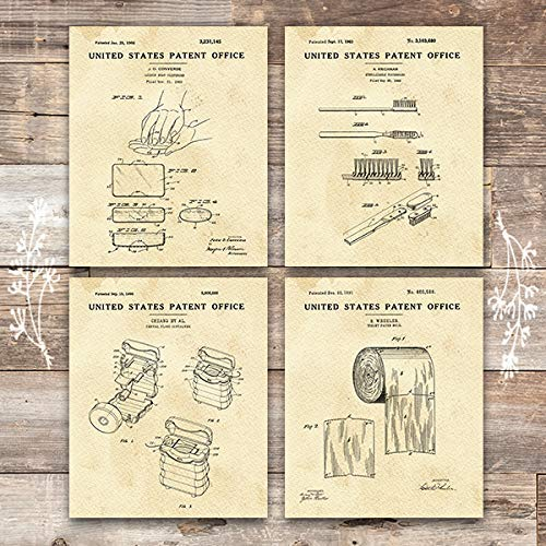 Bathroom Patent Art Prints (Set of 4) - 8x10s - Dream Big Printables