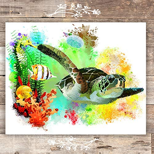 Sea Turtle Decor - Unframed - 8x10 | Beach Wall Art Prints - Dream Big Printables