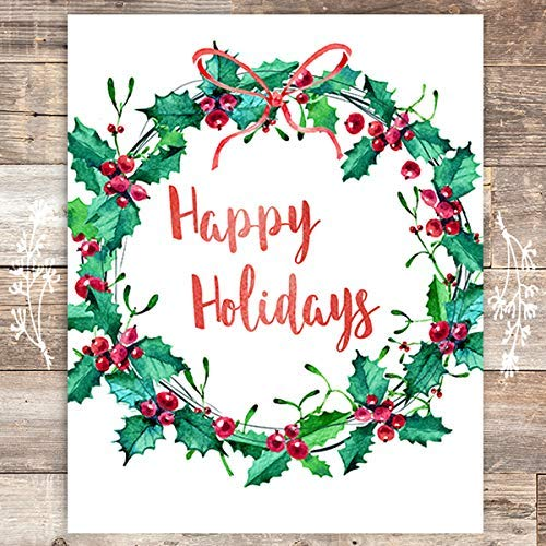 Happy Holidays Christmas Art Print - Unframed - 8x10 - Dream Big Printables