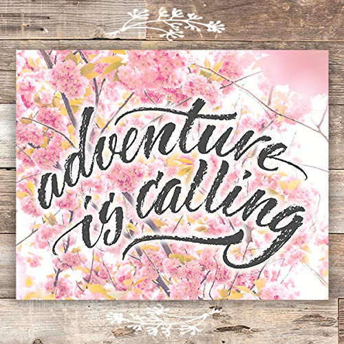 Adventure Is Out There Floral Art Print - Unframed - 8x10 - Dream Big Printables