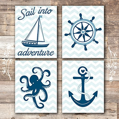Nautical Nursery Wall Decor Art Prints (Set of 4) - Unframed - 8x10s - Dream Big Printables