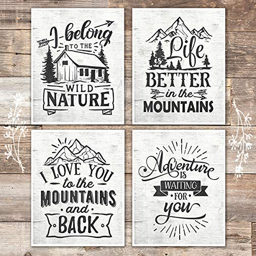 Rustic Nature and Mountains Quotes Art Prints (Set of 4) - 8x10s - Dream Big Printables