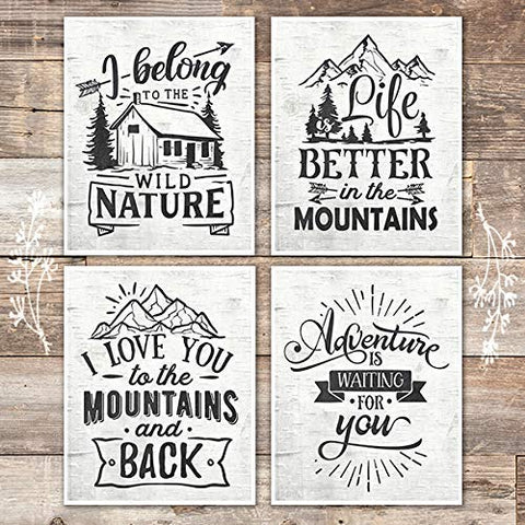 Rustic Nature and Mountains Quotes Art Prints (Set of 4) - Unframed - 8x10s - Dream Big Printables