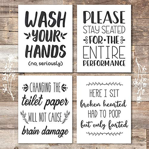 Funny Bathroom Quotes (Set of 4) - Unframed - 8x10s - Dream Big Printables
