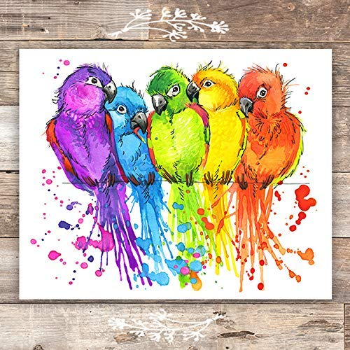 Colorful Parrots Art Print - 8x10s | Bird Wall Decor - Dream Big Printables