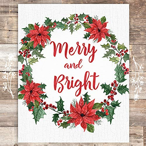 Merry and Bright Wreath Christmas Art Print - Unframed - 8x10 - Dream Big Printables
