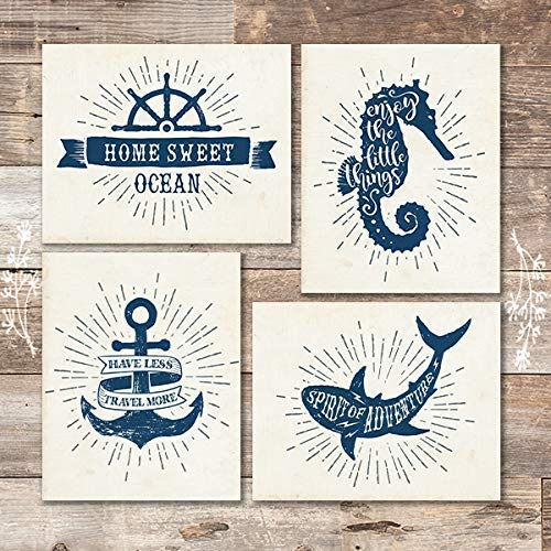 Vintage Nautical Wanderlust Quotes (Set of 4) - Unframed - 8x10s - Dream Big Printables