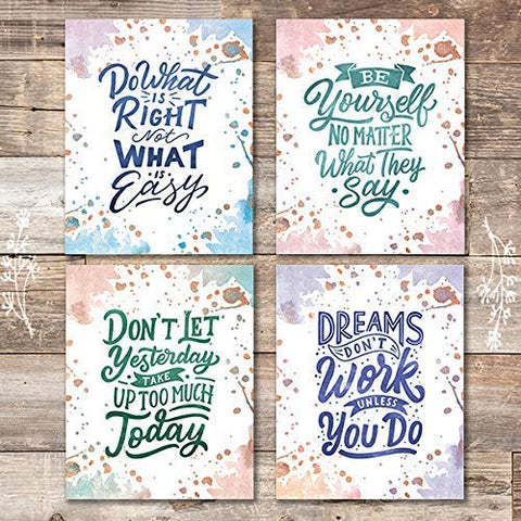 Inspirational Watercolor Quotes (Set of 4) - Unframed - 8x10s - Dream Big Printables