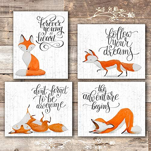 Fox Wall Art Prints (Set of 4) - Unframed - 8x10s | Woodland Nursery Decor - Dream Big Printables