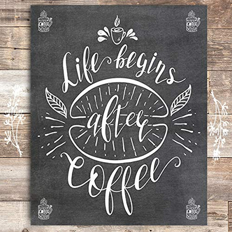 Life Begins After Coffee Wall Art Print - Unframed - 8x10 - Dream Big Printables