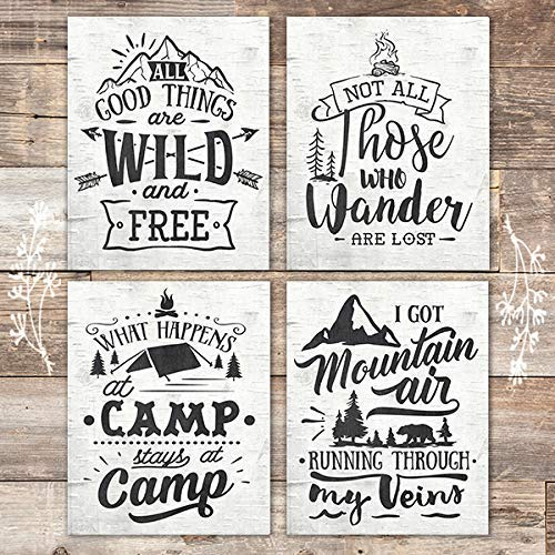 Rustic Nature Quotes Art Prints (Set of 4) - Unframed - 8x10s - Dream Big Printables