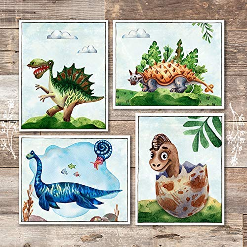 Friendly Dinosaur Art Prints (Set of 4) - Unframed - 8x10s - Dream Big Printables