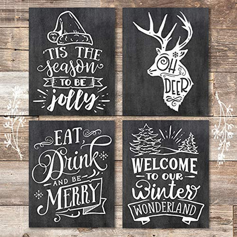 Christmas Chalkboard Quotes Art Prints (Set of 4) - Unframed - 8x10