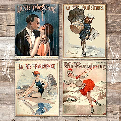 La Vie Parisienne Covers French Art Set (Set of 4) - Unframed - 8x10s - Dream Big Printables