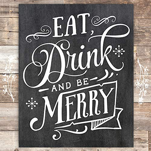 Eat Drink And Be Merry Christmas Chalkboard Art Print - Unframed - 8x10 - Dream Big Printables