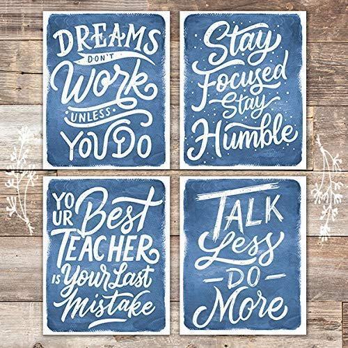 Watercolor Motivational Quotes Blue (Set of 4) - Unframed - 8x10s - Dream Big Printables