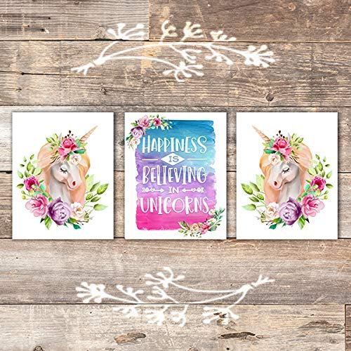 Happiness Is Believing In Unicorns Art Prints (Set of 3) - Unframed - 8x10s - Dream Big Printables