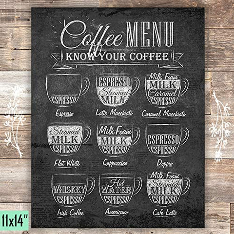Coffee Menu Wall Decor - Unframed - 11x14 - Dream Big Printables