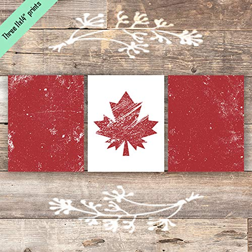 Canadian Flag Triptych Art Prints (Set of 3) - Unframed - 11x14s - Dream Big Printables