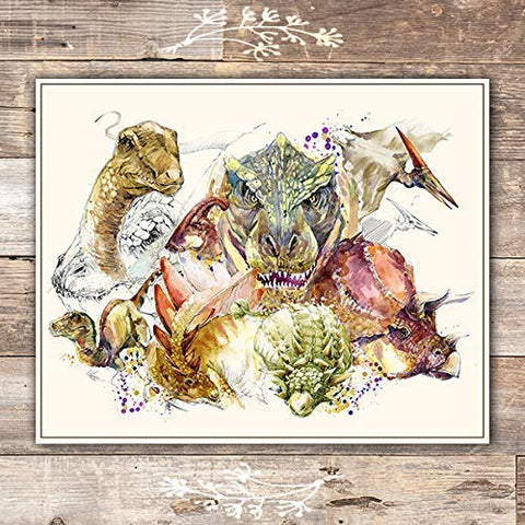 Dinosaur Wall Art Print - Unframed - 8x10