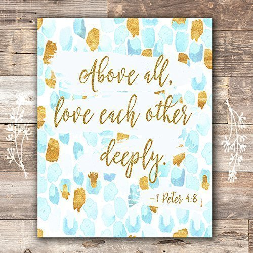 Bible Verse Wall Art Print | 1 Peter 4:8 - 8x10 - Dream Big Printables