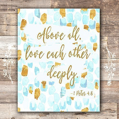 Bible Verse Wall Art Print | 1 Peter 4:8 - Unframed - 8x10