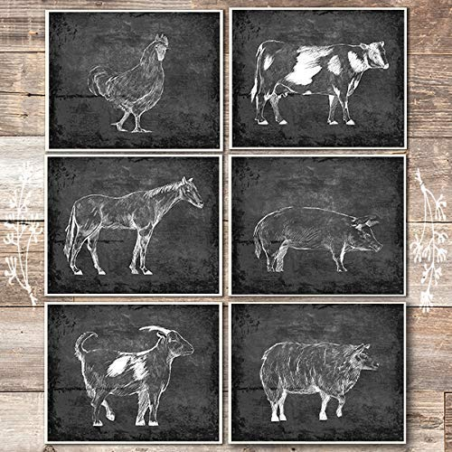 Farm Animals Art Prints (Set of 6) - Unframed - 8x10s (Chicken, Cow, Horse, Pig, Goat, Sheep) - Dream Big Printables