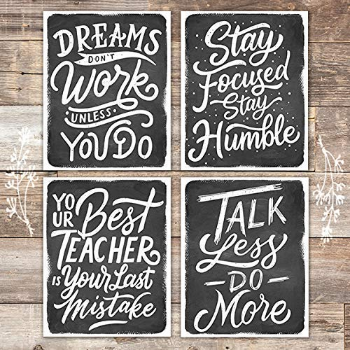 Watercolor Motivational Quotes Black and White (Set of 4) - Unframed - 8x10s - Dream Big Printables