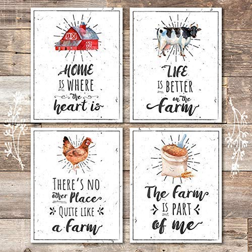 Farmhouse Wall Art Prints (Set of 4) - Unframed - 8x10s - Dream Big Printables