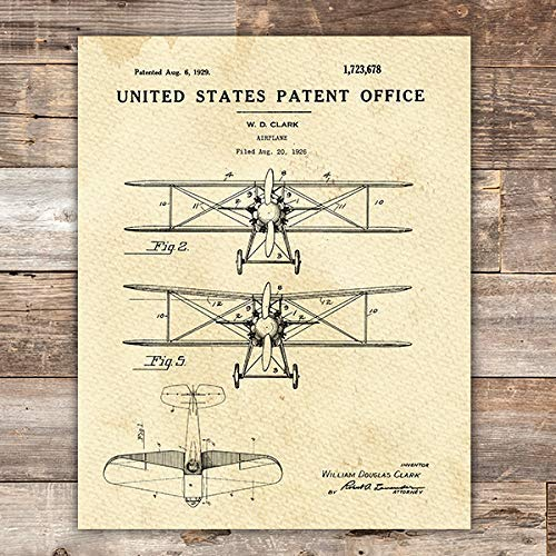 Airplane Patent Print Wall Art - Unframed - 8x10 - Dream Big Printables