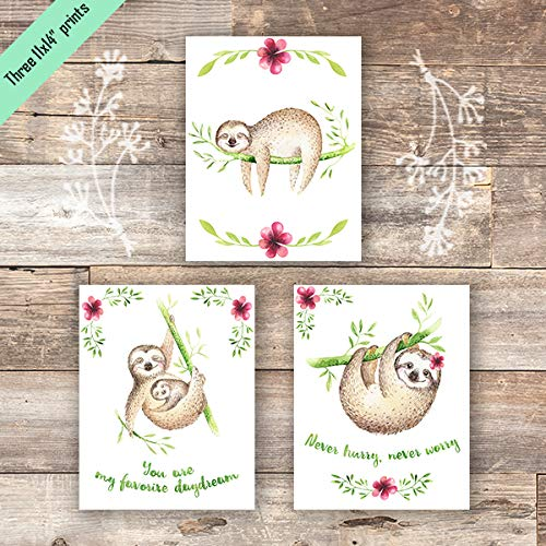 Sloth Art Prints (Set of 3) - Unframed - 11x14s - Dream Big Printables
