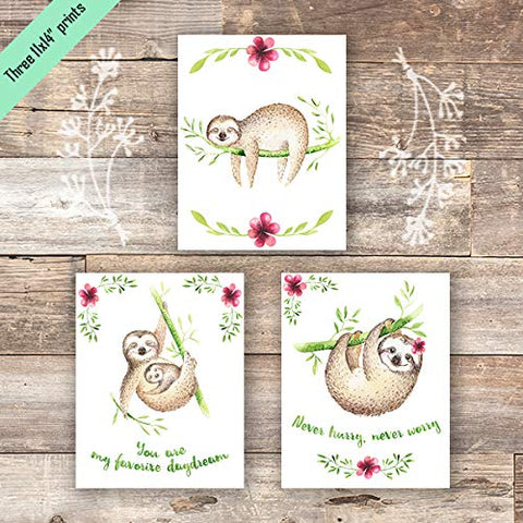 Sloth Art Prints (Set of 3) - Unframed - 11x14s