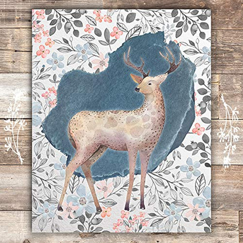 Floral Deer Art Print - Unframed - 8x10
