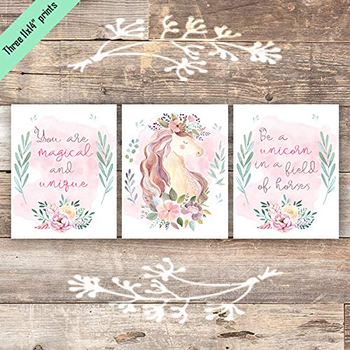Unicorn Wall Art Prints (Set of 3) - Unframed - 11x14s - Dream Big Printables